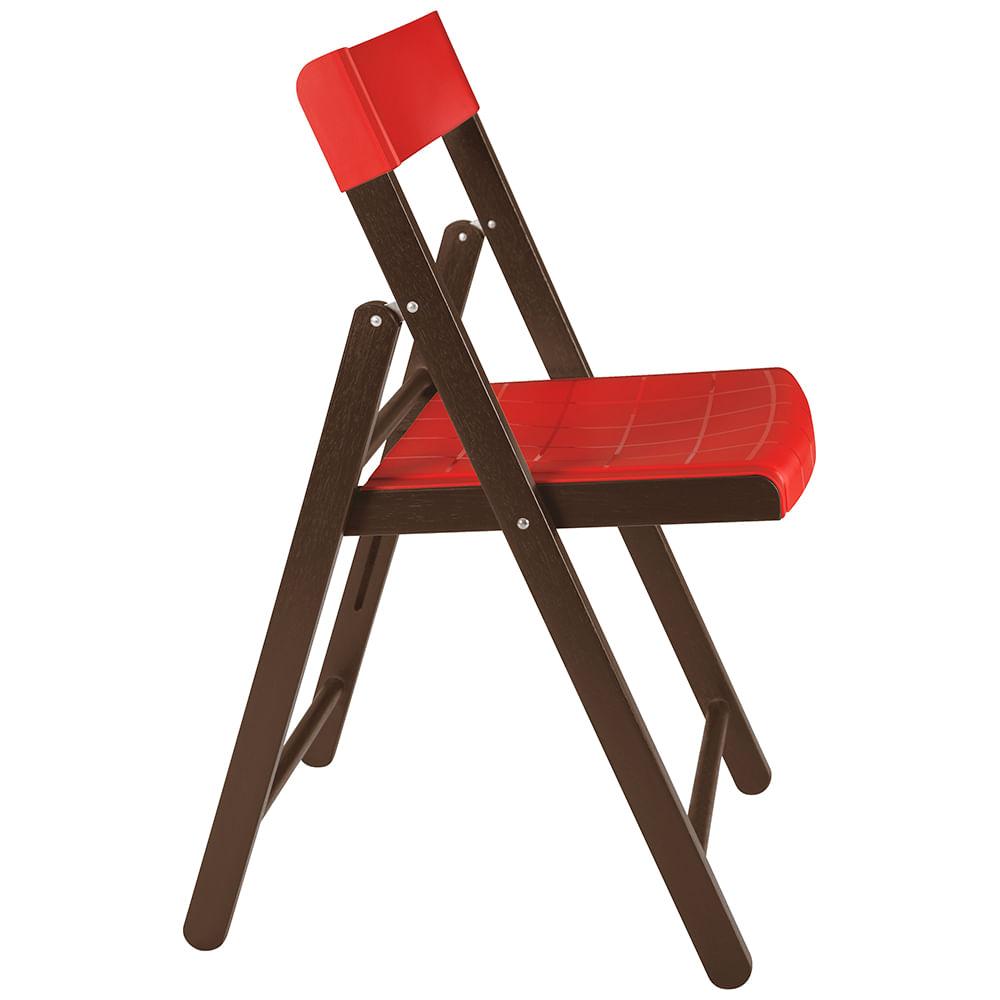 Cadeira Dobrável De Madeira Cor Tabaco Assento De Polipropileno Vermelho Tramontina