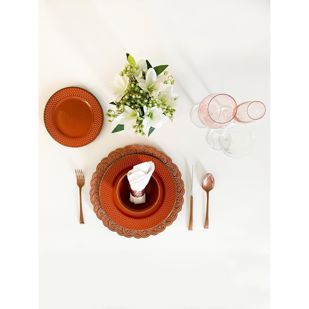 Prato Sobremesa Porcelana Drops Laranja 20Cm Rojemac