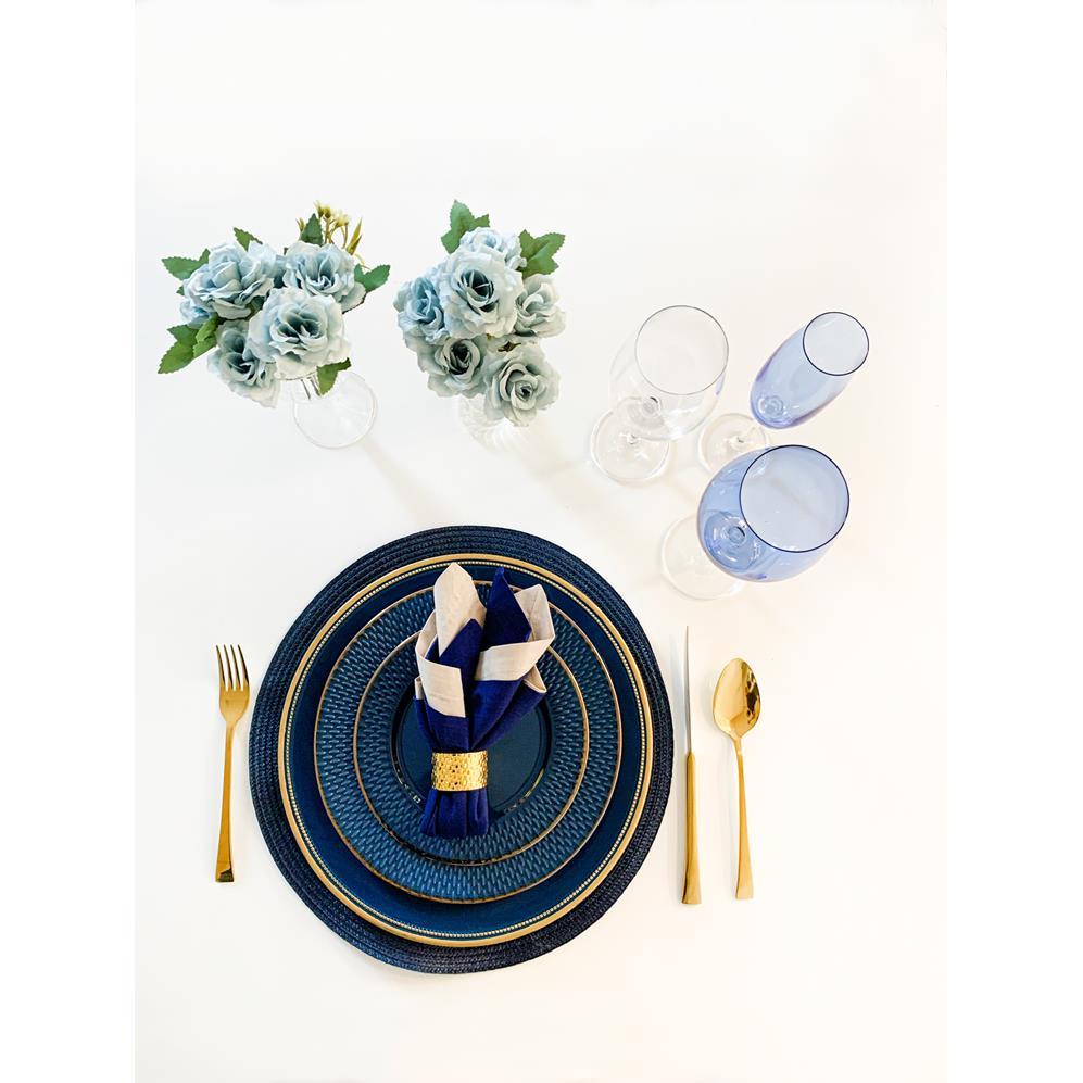 Prato Sobremesa Porcelana Drops Azul 20Cm Rojemac