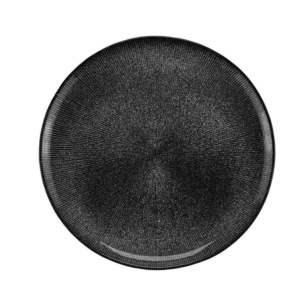 Prato Sobremesa Cristal De Chumbo Dots Preto 21Cm Rojemac