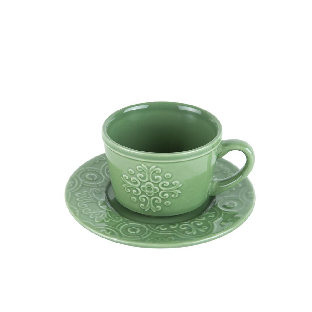 Xícara Café Porcelana Com Pires Tiles Eco 80 Ml Rojemac