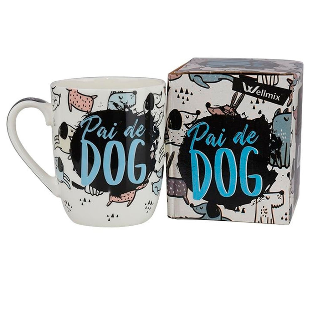 Caneca Ceram Orchid 400Ml Pai De Dog Wellmix