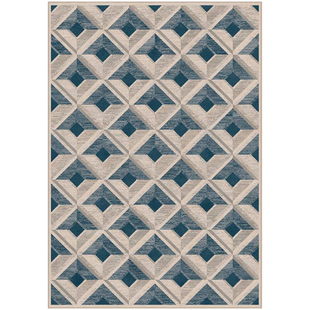 Tapete Belga Harmony Trendy 0.67X1.1 9889 Azul/Cinza  Abdalla